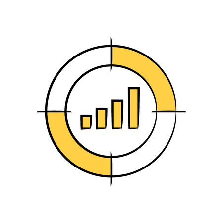 bar graph in crosshair yellow doodle theme Vettoriali