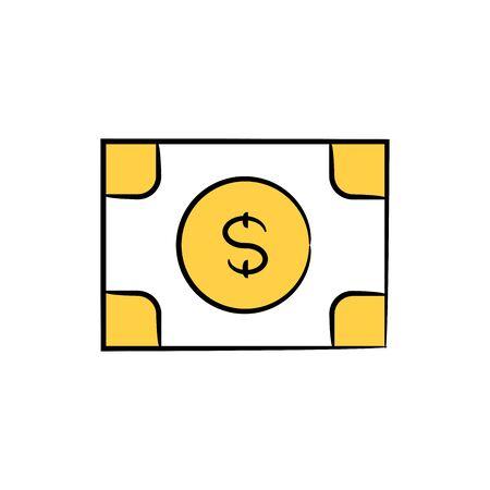 dollar bank icon yellow doodle theme Ilustrace