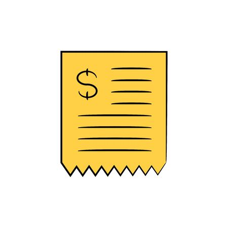 dollar bill icon yellow doodle theme