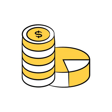 dollar coins and pie chart icon yellow doodle theme