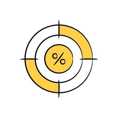percentage in crosshair yellow doodle theme for return or profit target Vettoriali
