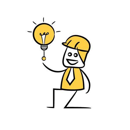 engineer turn on light bulb icon stick figure yellow theme