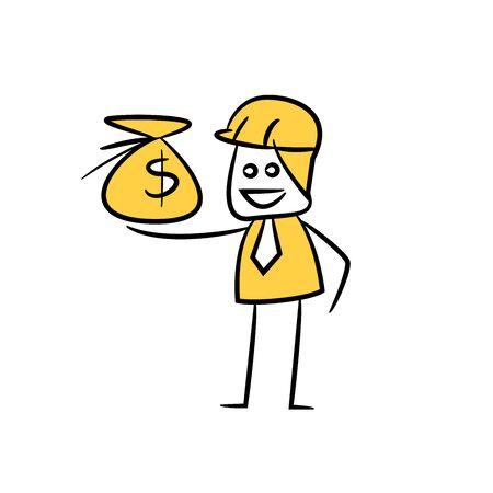 engineer present money sack icon stick figure yellow theme