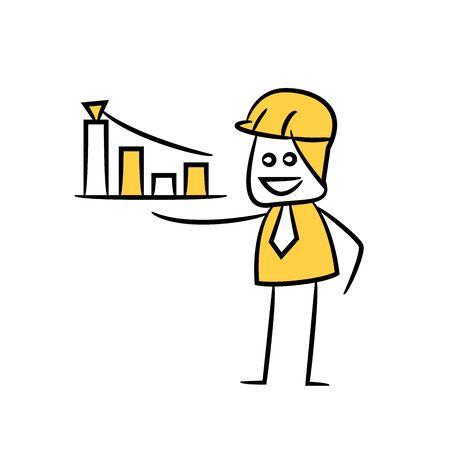 engineer showing bar chart icon stick figure yellow theme