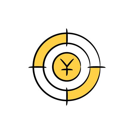 Yuan sign in crosshair yellow doodle theme