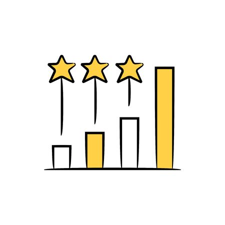 bar chart and star for ranking or benchmark yellow doodle theme Illustration