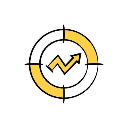 arrow graph in crosshair yellow doodle theme