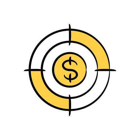 dollar sign in crosshair yellow doodle theme Vettoriali