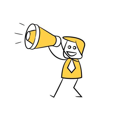 empresario sosteniendo megáfono amarillo figura de palo