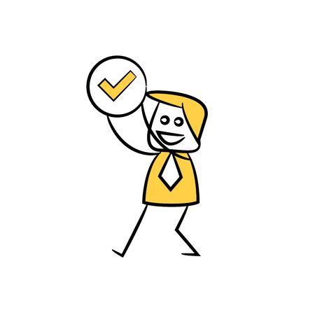 empresario mostrar marca de verificación figura de palo amarillo