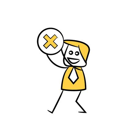 businessman holding wrong mark yellow stick figure 일러스트