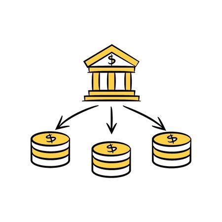 bank and money network yellow hand drawn theme Vektoros illusztráció