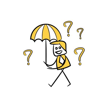 businessman holding umbrella and falling question marks yellow hand drawn theme Çizim