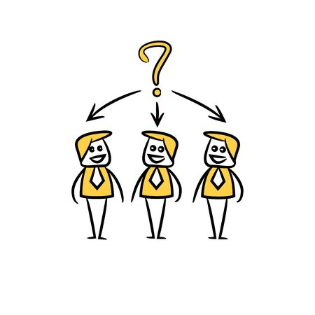 business people team and question mark in yellow doodle stick figure Ilustración de vector