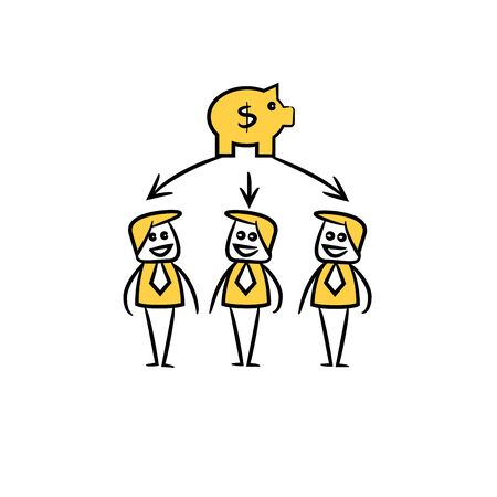 business people team and piggy bank in yellow doodle stick figure