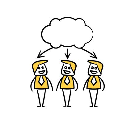 business people team and cloud bubble in yellow doodle stick figure