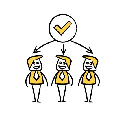 business people team and check mark in yellow doodle stick figure