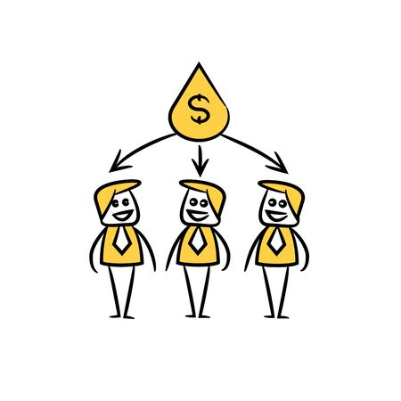 business people team and money drop in yellow doodle stick figure