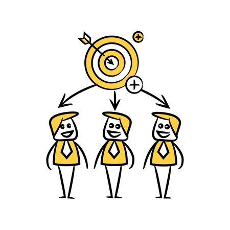 business people team and arrow dart in yellow doodle stick figure