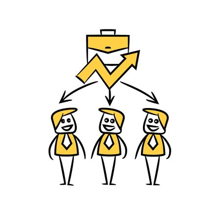 business people team and briefcase with chart in yellow doodle stick figure