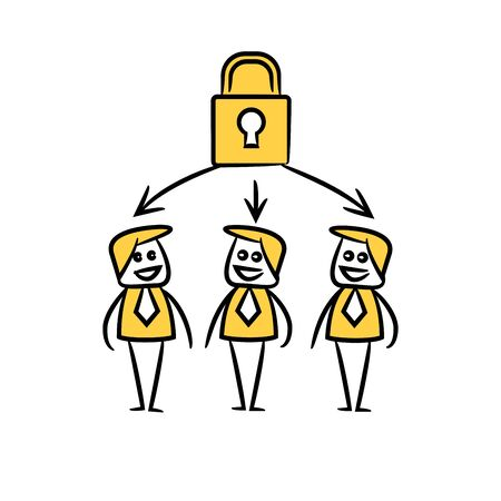 business people team and key lock in yellow doodle stick figure