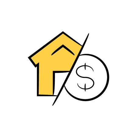 home and money icon yellow hand drawn theme for home loan concept