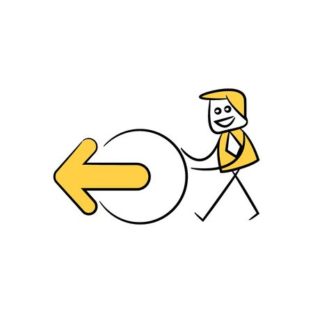 businessman and arrow icon yellow doodle theme