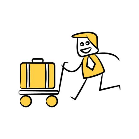 businessman and luggage on trolley icon yellow doodle theme