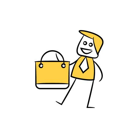 businessman and shopping bag icon yellow doodle theme