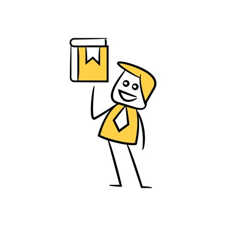 businessman present book icon yellow doodle theme
