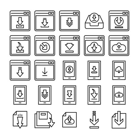 download and save line icons Ilustracja