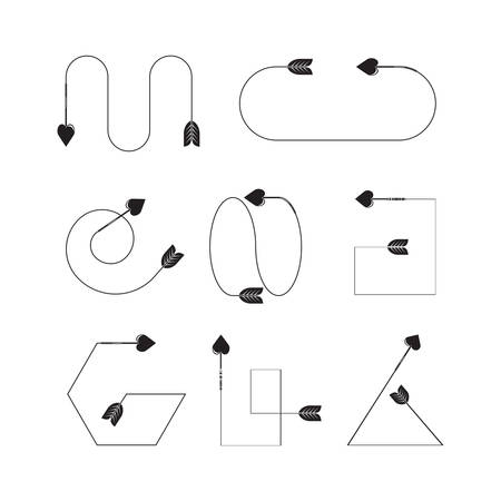 arrows heart bow head vector set  イラスト・ベクター素材