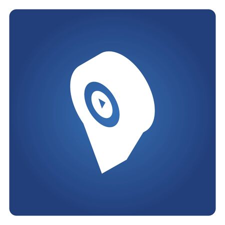 map pin icon solid isometric design on blue background