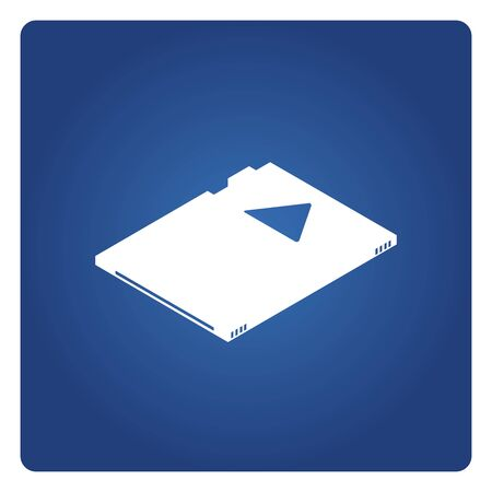 memory disk icon solid isometric design on blue background