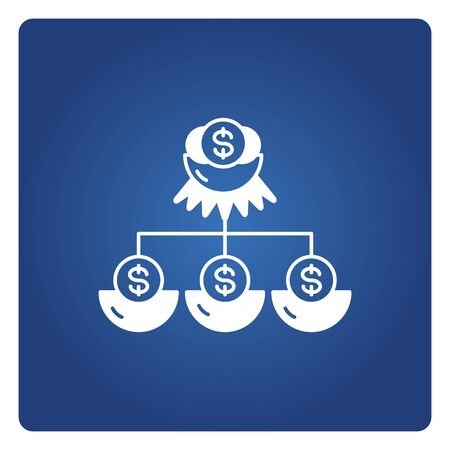 money dollar coin diagram in nest for passive income and investment icon blue background