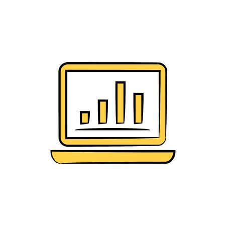 lap top and chart data analytics, in yellow theme