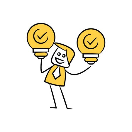 businessman holding bulbs, approved idea concept in stick figure yellow theme