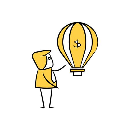 businessman and dollar balloon bubble for financial crisis icon in yellow stick figure theme