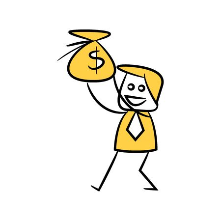 businessman holding money purse icon yellow stick figure theme Illustration