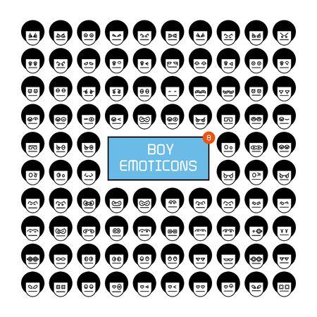 boy face emoticon icons set Ilustração