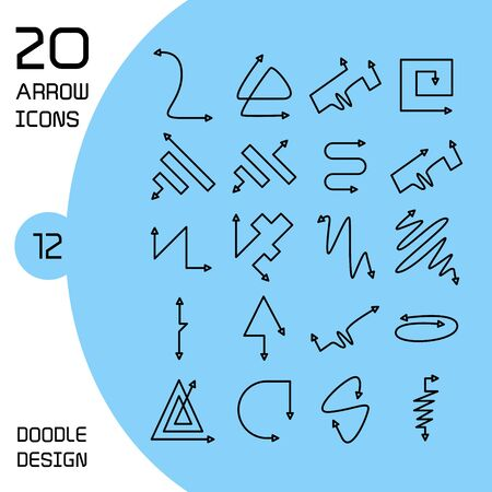 doodle and hand drawn arrow icons set