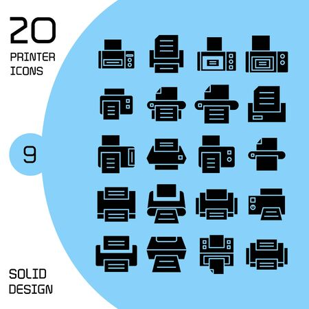 printer and fax icons set
