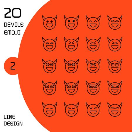 devil face emoticons and avatar icons set line design