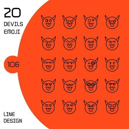 devil face emoticons and avatar icons set line design