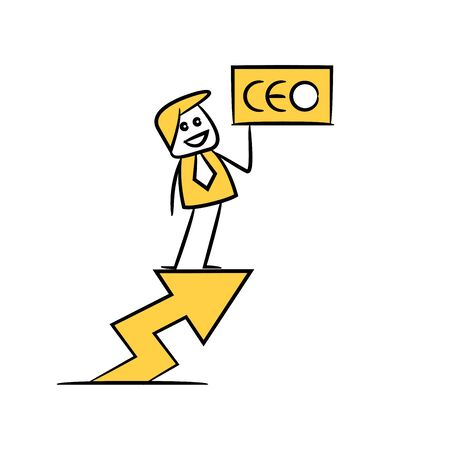 businessman standing on arrow chart with ceo signage yellow stick figure theme Иллюстрация