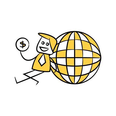 businessman sitting next to globe yellow stick figure doodle theme Illustration