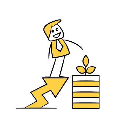 businessman standing on graph and money seed yellow stick figure doodle theme