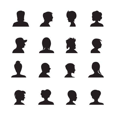 set of people avatars silhouettes, profile icon Ilustración de vector
