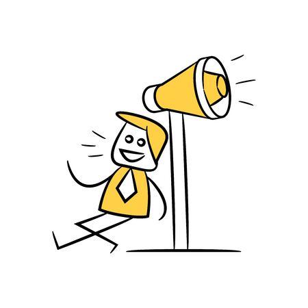 advertiser, businessman sitting next to yellow stick figure doodle theme