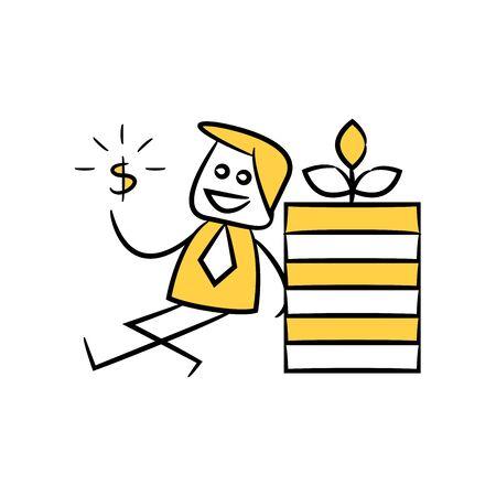 investor, businessman sitting next to money pile yellow stick figure doodle theme